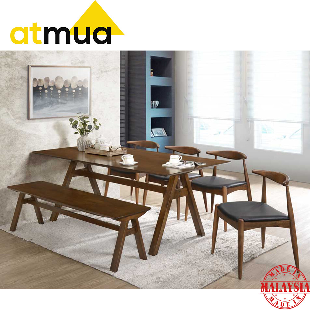 Atmua Furniture Vivo Dining Table - 3x6 Feet 8 Seater Table Full Solid Rubber Wood Moder Dining Table