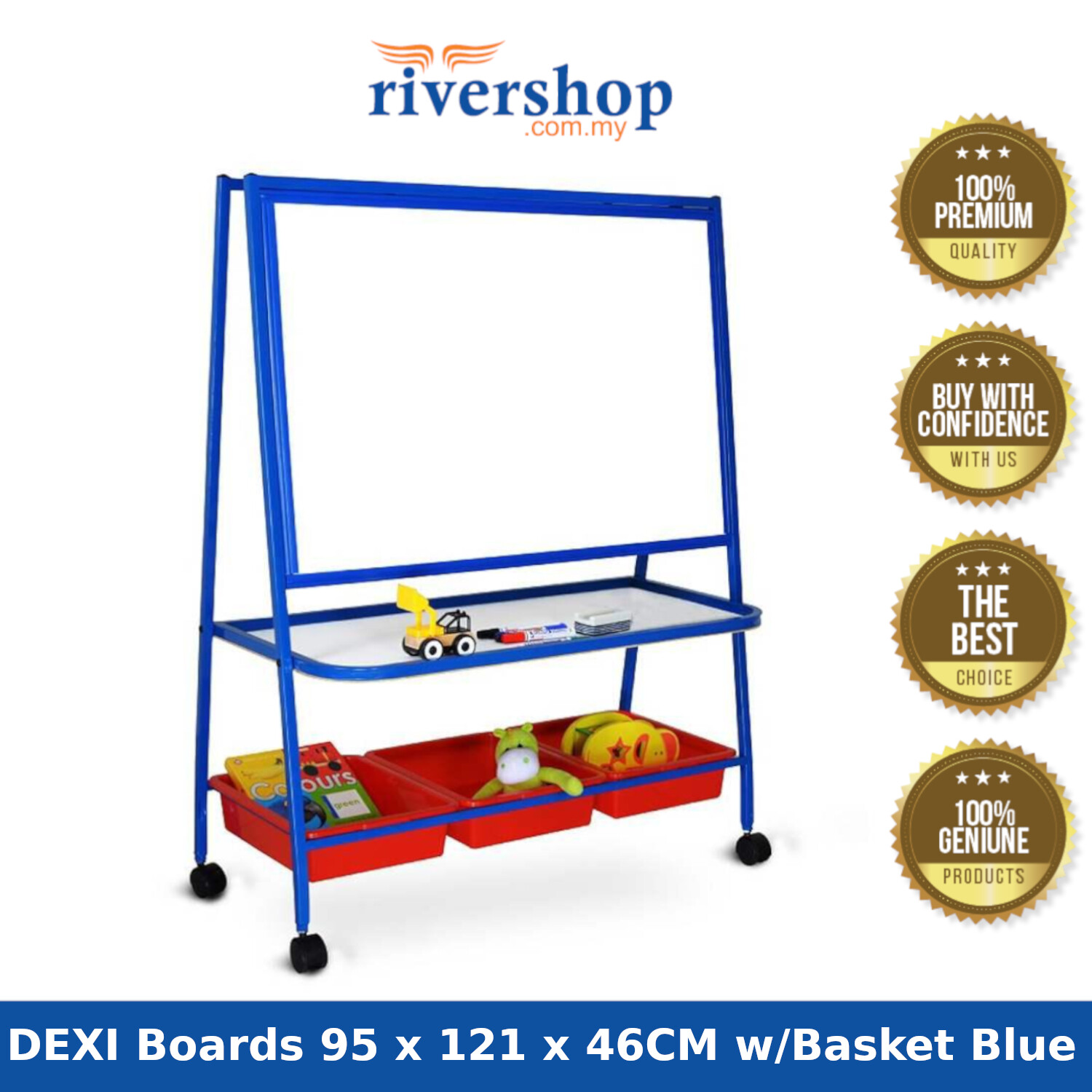 WP-K3S DEXI Boards 95 x 121 x 46CM with 4 Castors Single Sided Magnetic Whiteboard with 3 Baskets (Red/Blue)