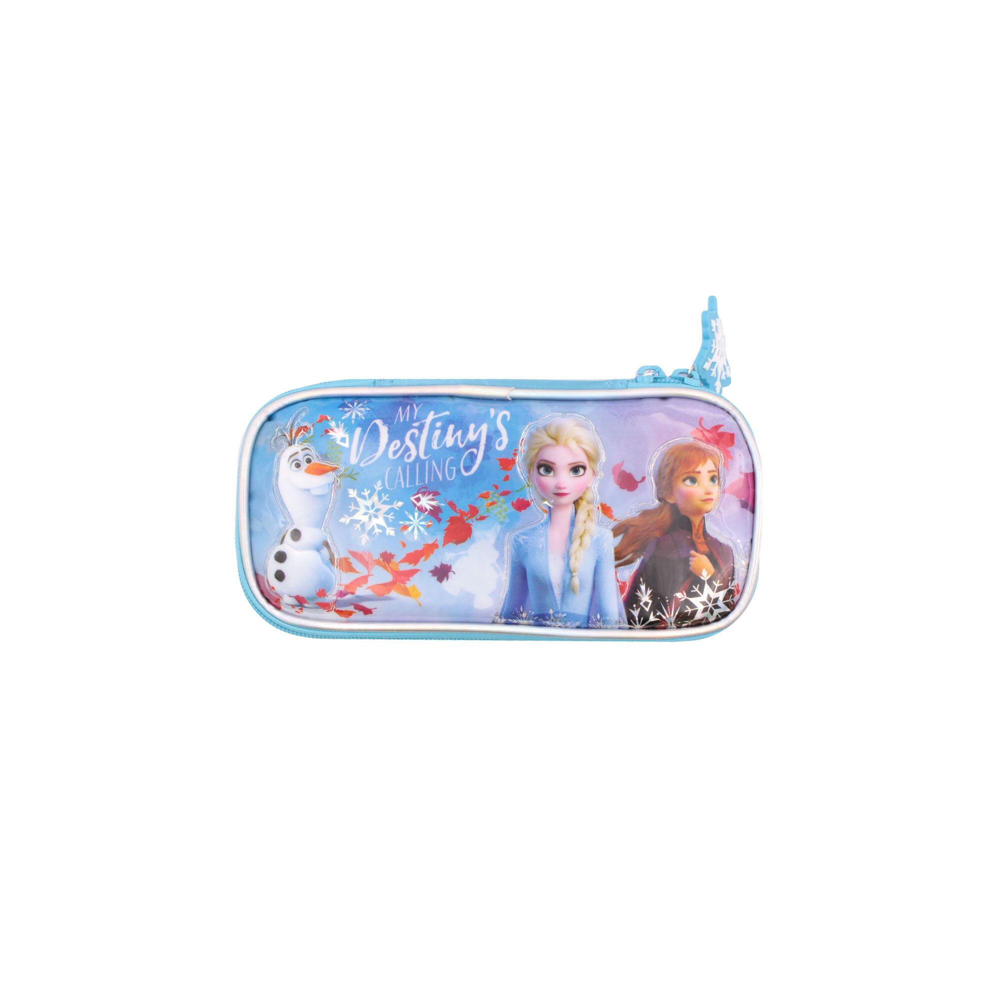 Disney Frozen 2 Princess Elsa, Anna & Olaf School Pencil Case (Light Blue)