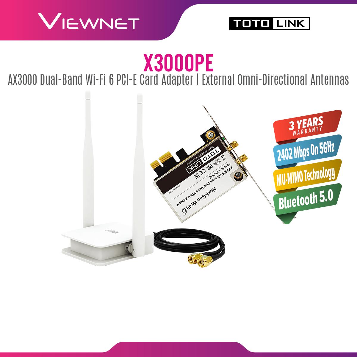 Totolink PCI-E AX3000 Wifi Adapter (X3000PE) *COME WITH LOW PROFILE BRACKET* X3000PE PCIE CARD PCE CARD