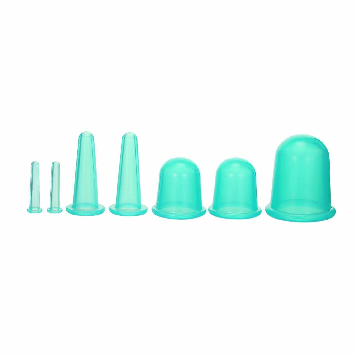 7pcs 4 sizes Silicone Massage Cup Facial Cupping Cup Vacuum Cupping Body Pain Relief Face Eye Care Treatment Manual Suction Cups (Green)
