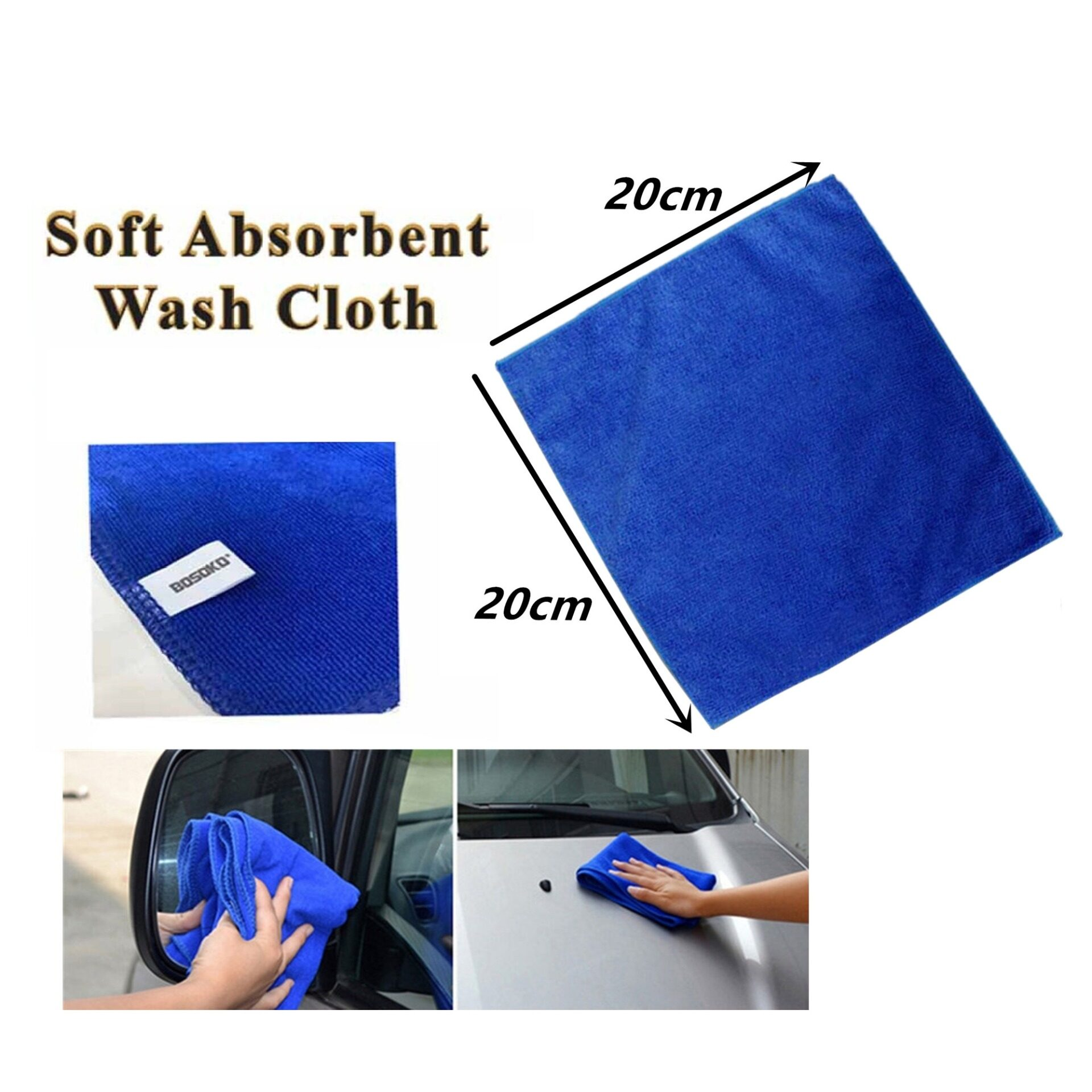 (BUY 10 FREE SHIPPING) 1 x BOSOKO Soft Absorbent Wash Cloth Car Auto Care Microfiber Cleaning Towels (Blue) 20cm x 20cm