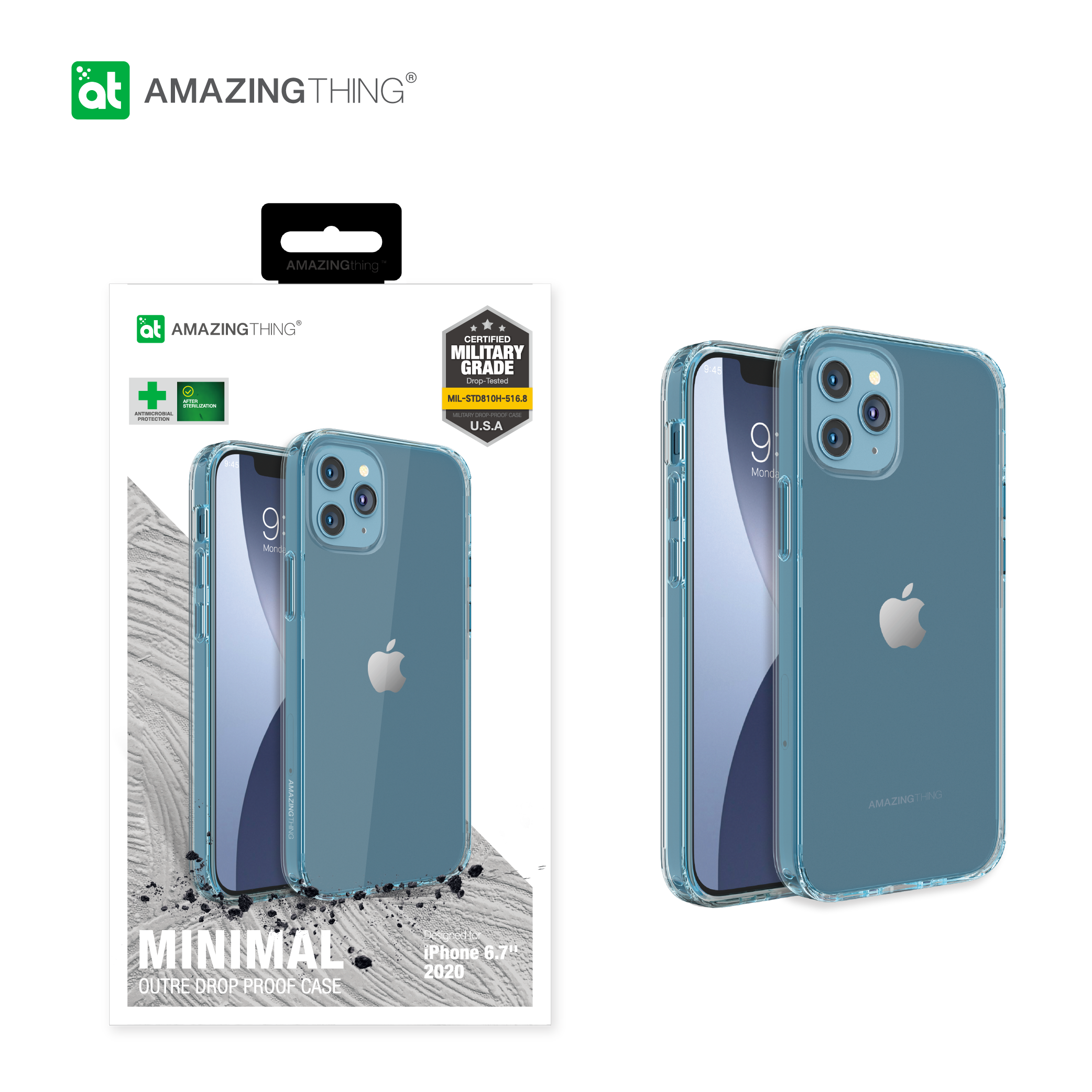 AMAZINGthing CASE Apple iPhone 12 Pro Max (2020) Anti-microbial Minimal Outre Drop proof