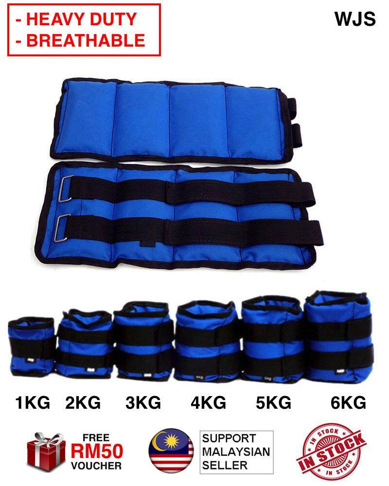 (HEAVY DUTY) WJS 6 Sizes 2pcs 2 pcs Breathable Adjustable Leg Ankle Weight Wrist Iron Sand Bag Weights Straps Strength Training For Gym Fitness Yoga Running BLUE 1KG TO 6KG [FREE RM 50 VOUCHER]