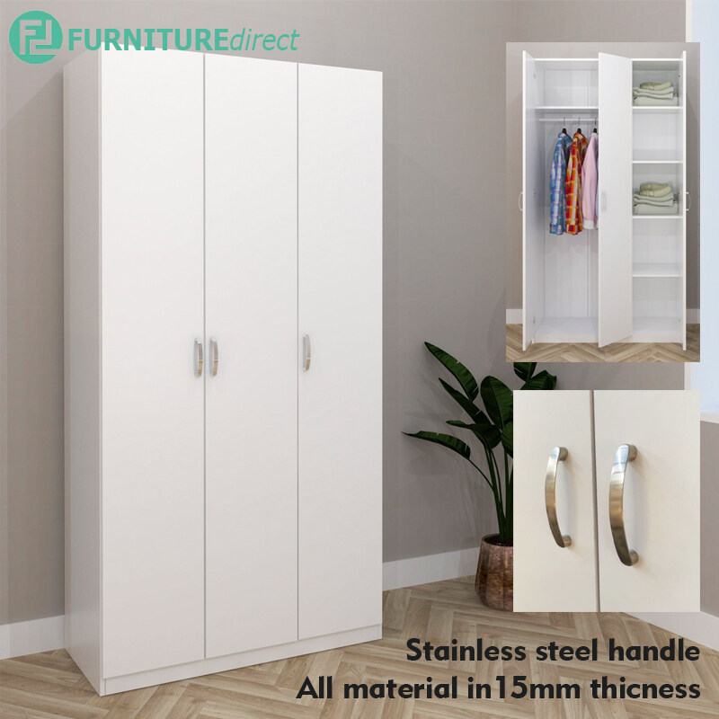 ESCOT 3 DOOR WARDROBE-WHITE/WENGE/oak 3 COLOR
