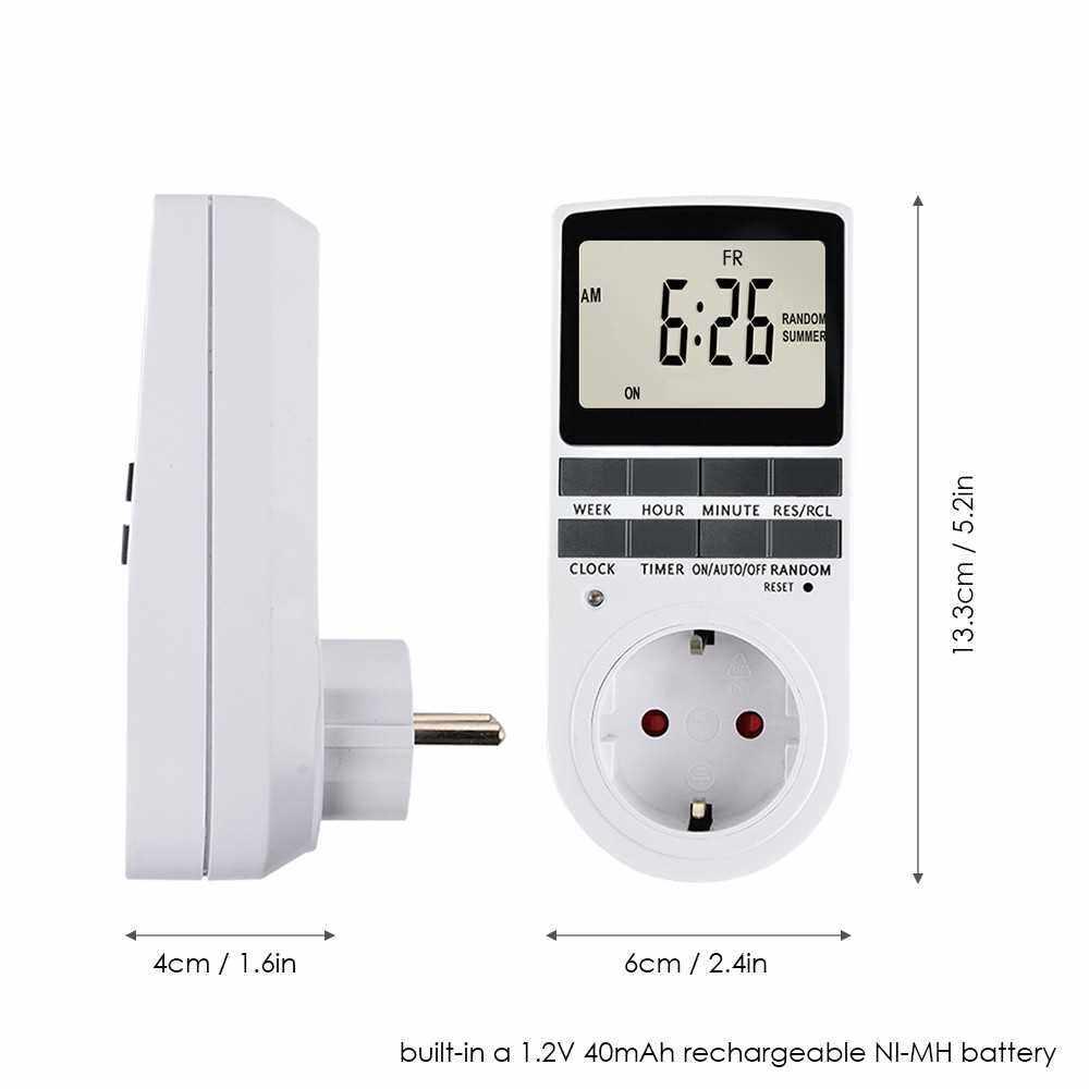 Pack of 1 Digital Plug-in Timer Socket LCD Display 10 Programmable Switching Programs 24 Hours & 7 Days Energy Saving Timer Socket for Electrical Appliances AC230V EU Plug (Eu1)
