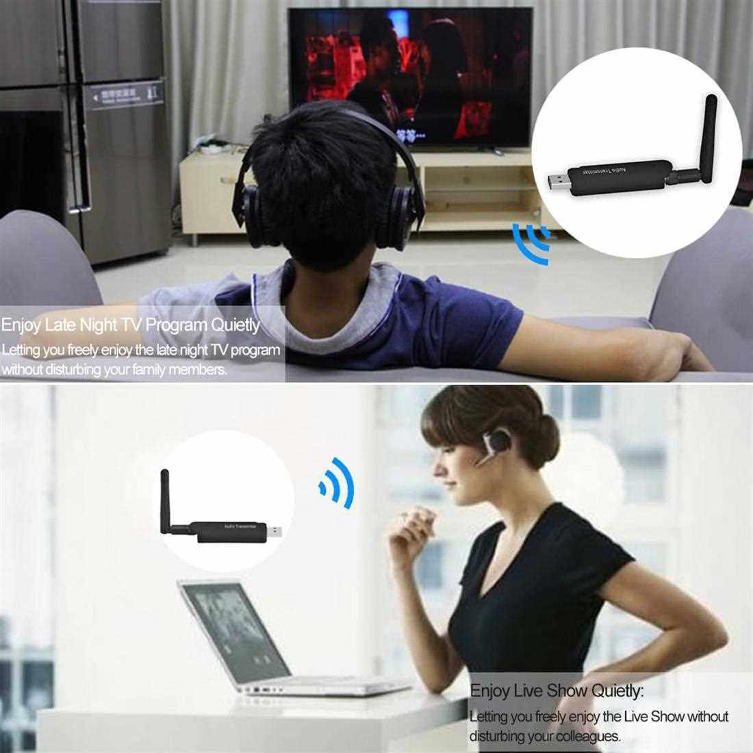 Best Selling B5 Bluetooth Transmitter Wireless Audio Transmitter Stereo Music Stream External Antenna Strong Signal for TV Notebook DVD PC CD Player (Black)
