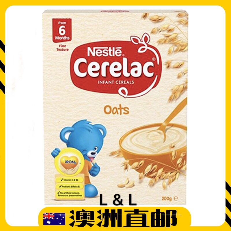 [Pre Order] Australia Import Nestle Cerelac Baby Rice Oats & Wheat Infant Cereal 6mths+ ( 200g ) (Made in Australia)