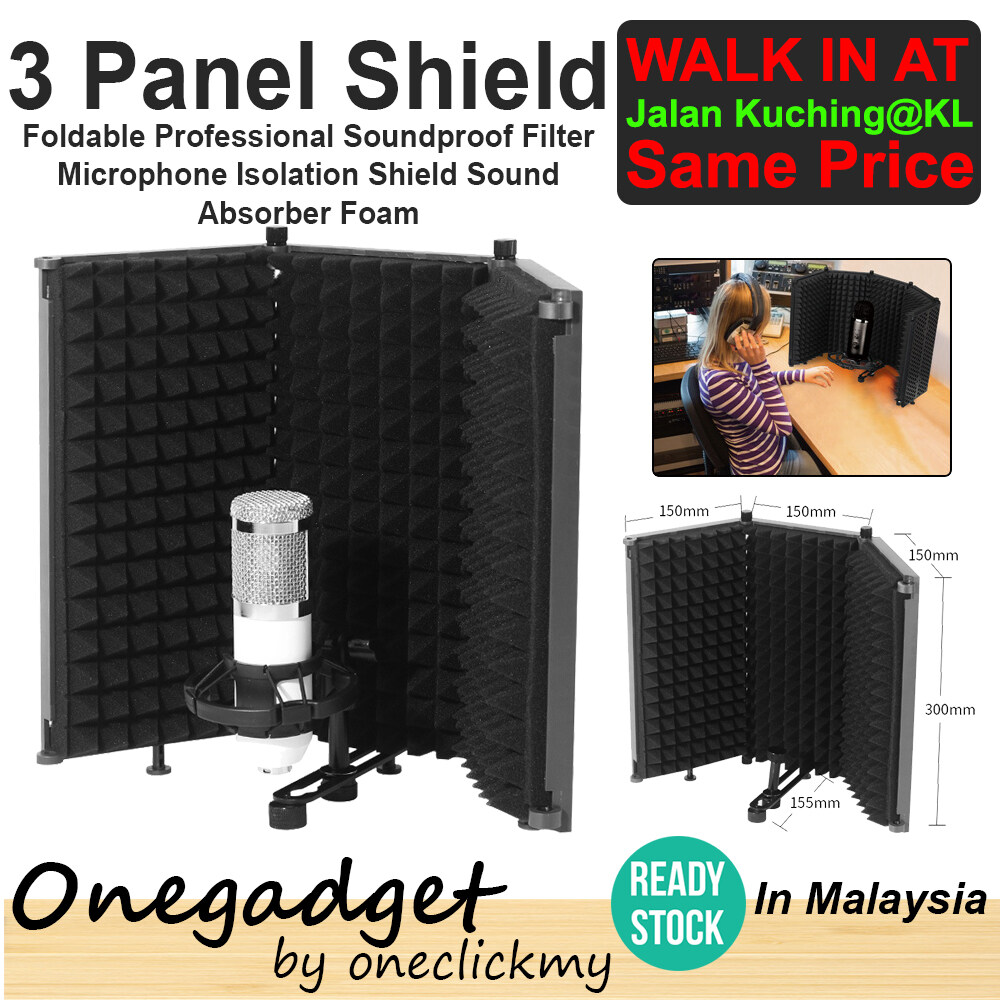 [READY STOCK]Onegadget WS-3 3 Panel Foldable Studio Microphone Isolation Shield Recording Sound Absorber Foam Panel