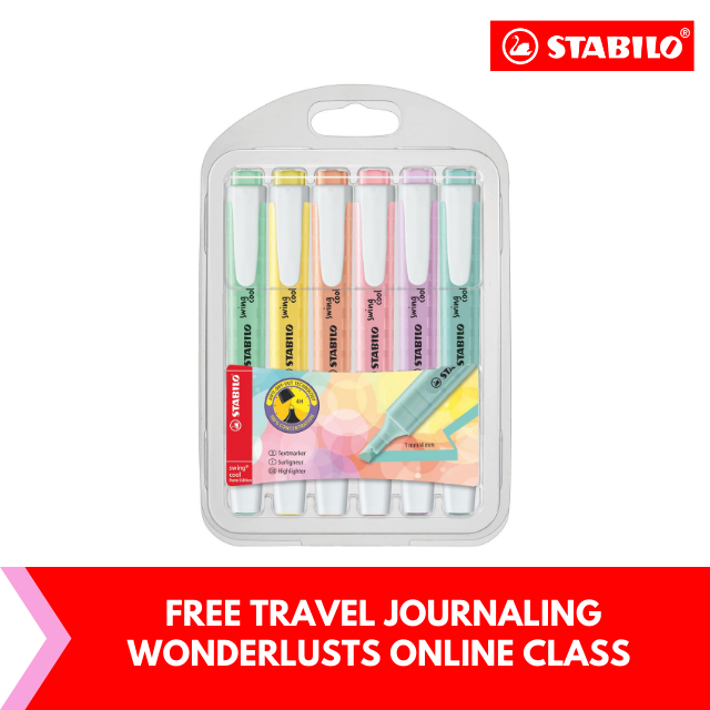 FREE Travel Journaling for Wanderlusts : STABILO® swing® cool Pastel Highlighter Pen and Text Marker (Wallet of 6)