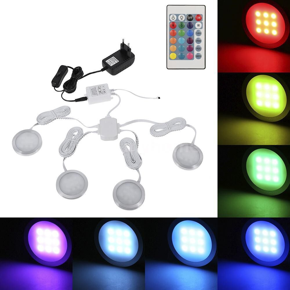 Lighting - 4 PIECE(s) Slim Round Shape RGB LED Under Cabinet Light Kit SMD5050 Puck Lamp Color-changing Dimmable - Home & Living