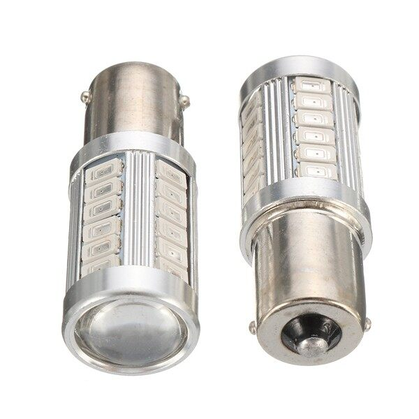 Engine Parts - 2x 33 SMD Amber BAU15s PY21W 1156 Bulb Tail Brake Reverse Turn Signal Lights DRL - Car Replacement