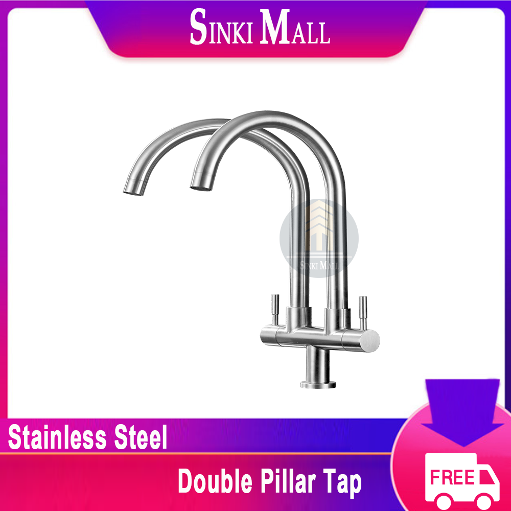 SUS304 Stainless Steel Kitchen Basin Sink Modern Rotate Double Twin U Spout Tap Faucet Pillar