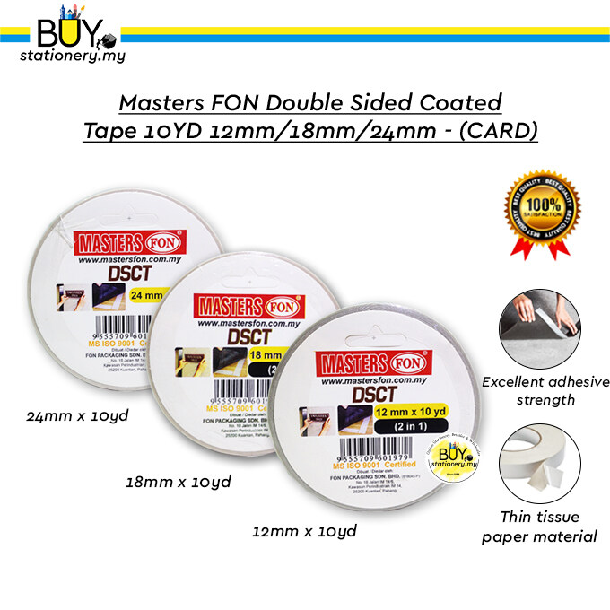 Masters FON Double Sided Coated Tape 10YD 12mm/18mm/24mm - (CARD)