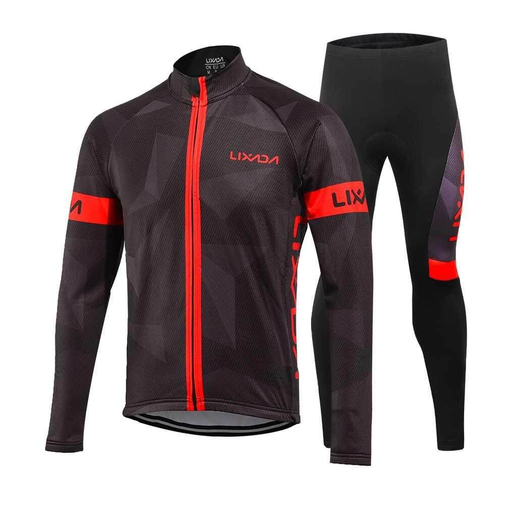 Best Selling Lixada Men's Winter Thermal Fleece Cycling Clothing Set Long Sleeve Windproof Cycling Jersey Coat Jacket with 3D Padded Pants Trousers (red)