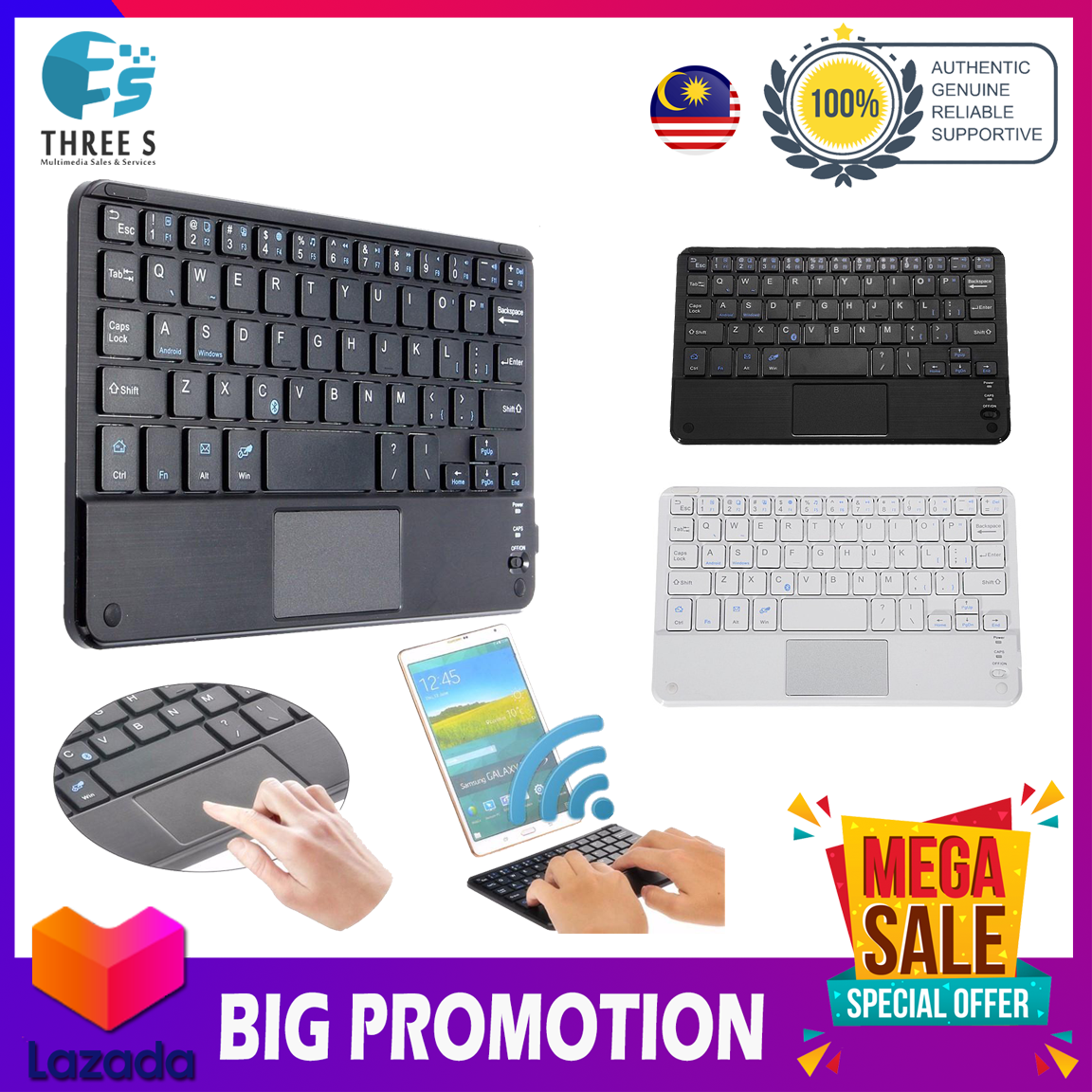 Mini Wireless Bluetooth Keyboard With Touchpad For Android and Windows Devices