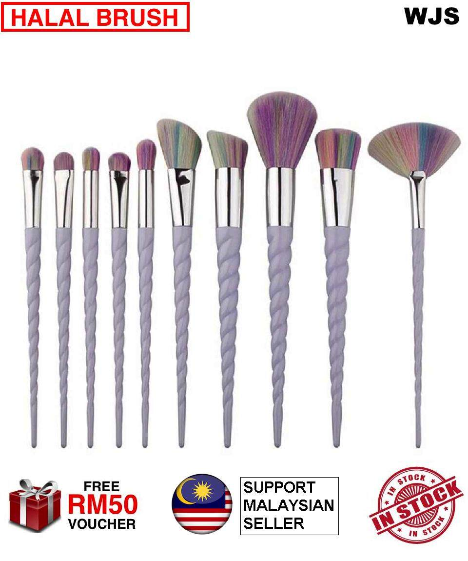 (HALAL BRUSH) WJS 10pcs 10 PCS Unicorn Makeup Brush Thread Professsional Cosmetic Brushes Set With Colorful Rainbow Delicate Diamond Shape Handle RAINBOW COLOR [FREE RM50 VOUCHER]