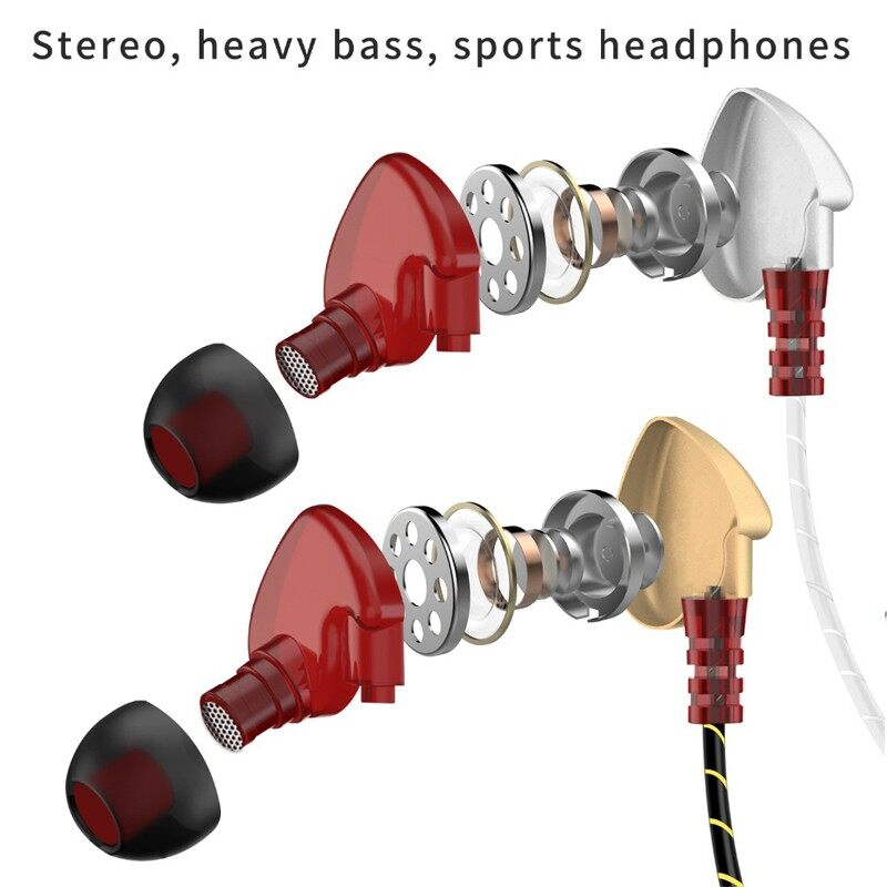 Sport Earphone Wired Super Bass 3.5mm Crack Earphone Earbud with Mic Handfree - GOLD-NO PACKING / GOLD-NICE PACKING / SILVER-NO PACKING / SILVER-NICE PACKING