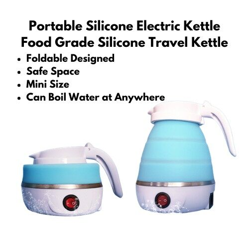 [ Local Ready Stocks ] Portable Silicone Electric Kettle Food Grade Silicone Travel Kettle