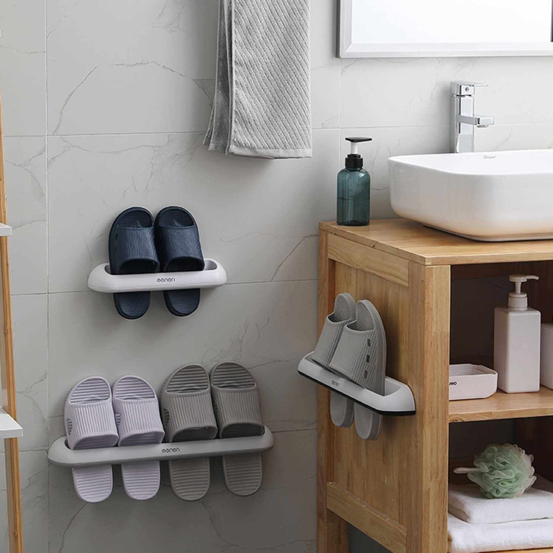 Best Selling Bathroom Slippers Rack Wall Mounted Shoe Organizer Rack Slippers Holder Shoes Hanger Self Adhesive Shoes Storage Holder Bathroom Storage Organizer (Black)