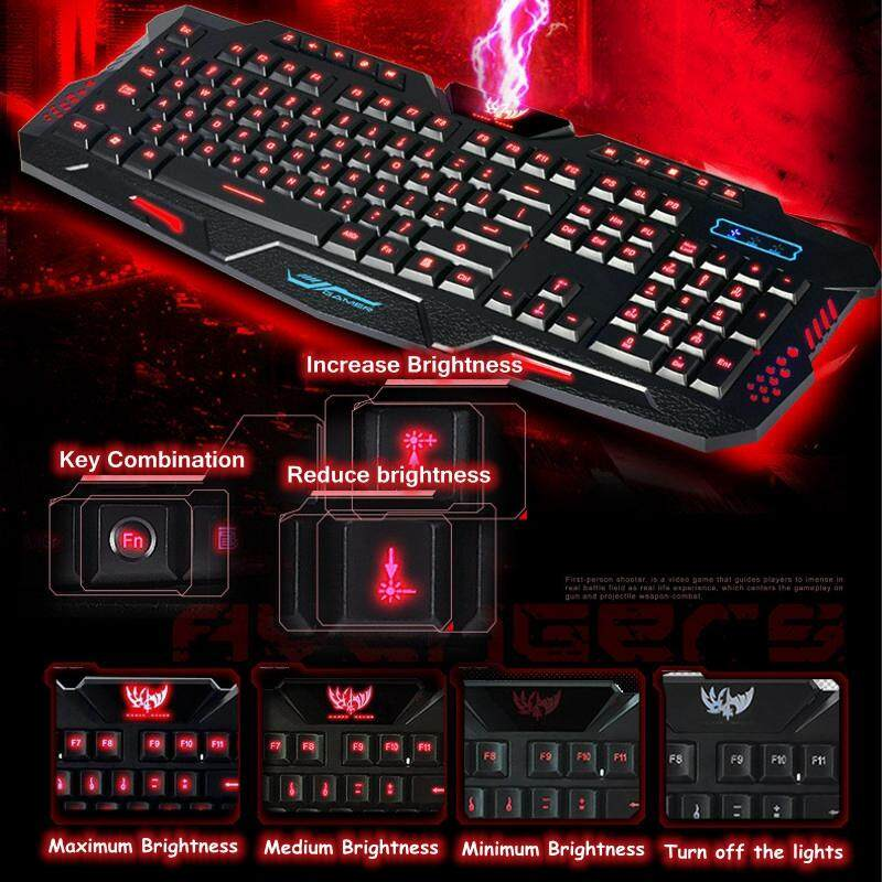 Keyboards - Backlit USB Keyboard+USB Mouse Glow Game Suite Keyboard And Mouse SET - BLACK / WHITE