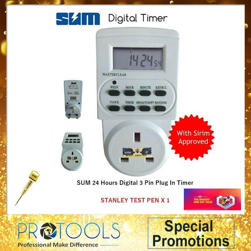 SUM 24 Hours Digital 3 Pin Plug In Timer FOC STANLEY TEST PEN
