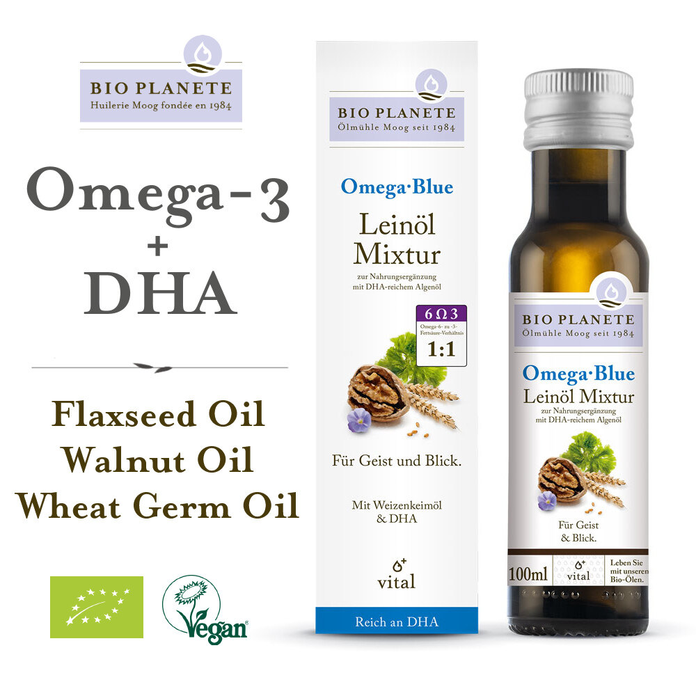 BIO PLANETE Omega 3 Blue with DHA (100ml) - Flaxseed oil Mixture -