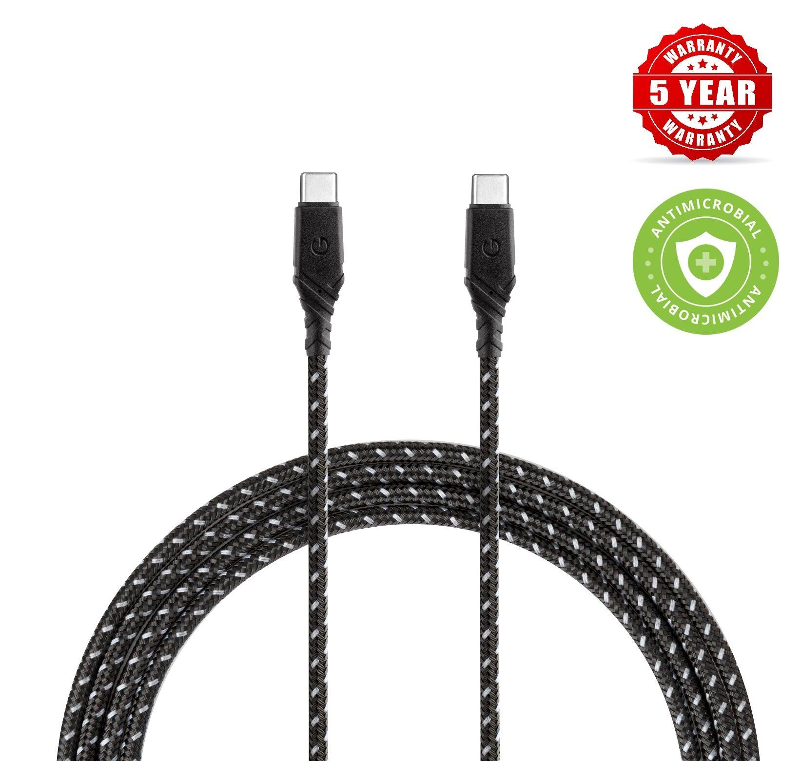 Energea DuraGlitz Anti-Microbial 2.0 USB-C to USB-C 5A – 1.5m - 5 year Warranty