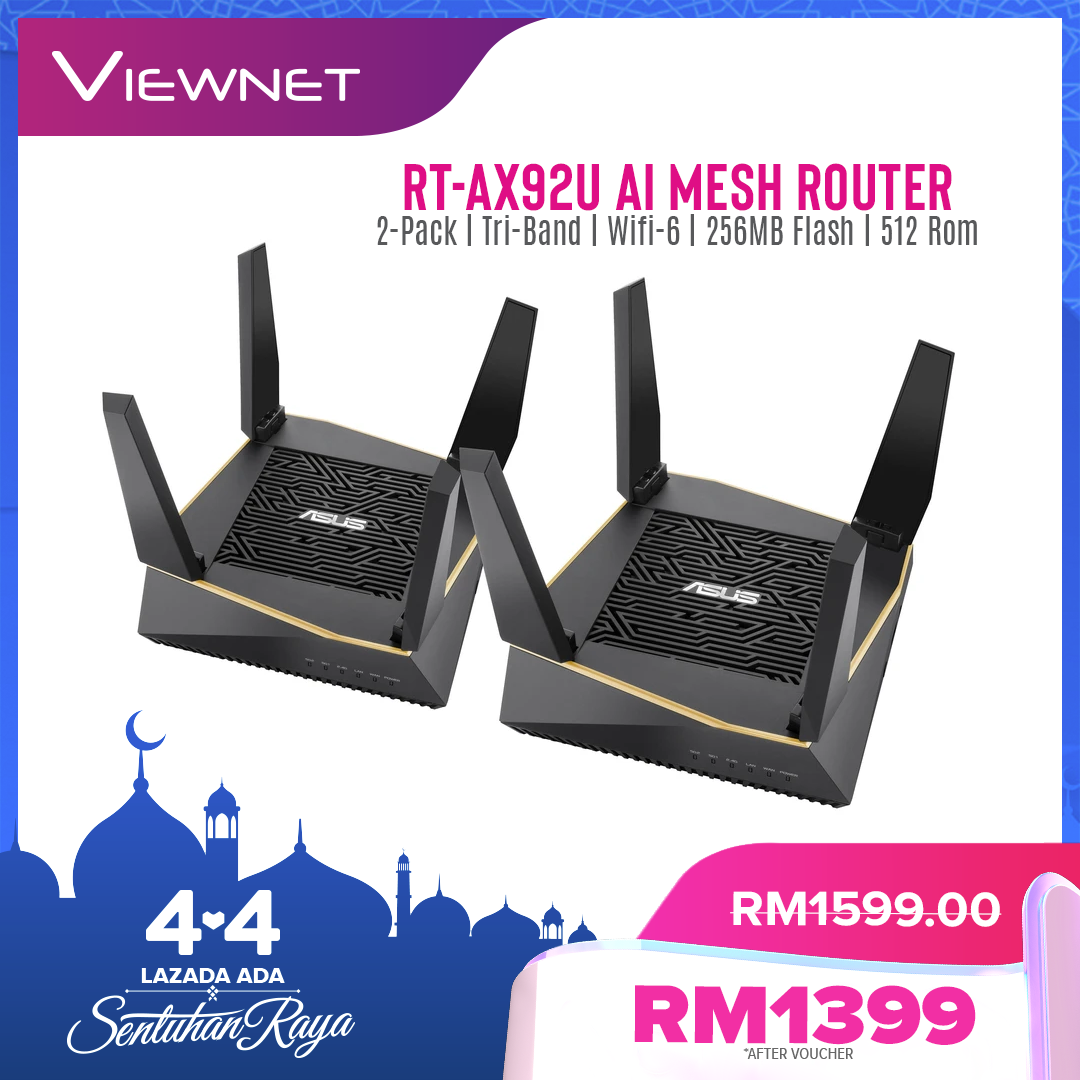 Asus AX6100 AiMesh Mesh WiFi System RT-AX92U (2 Pack) Wireless Router