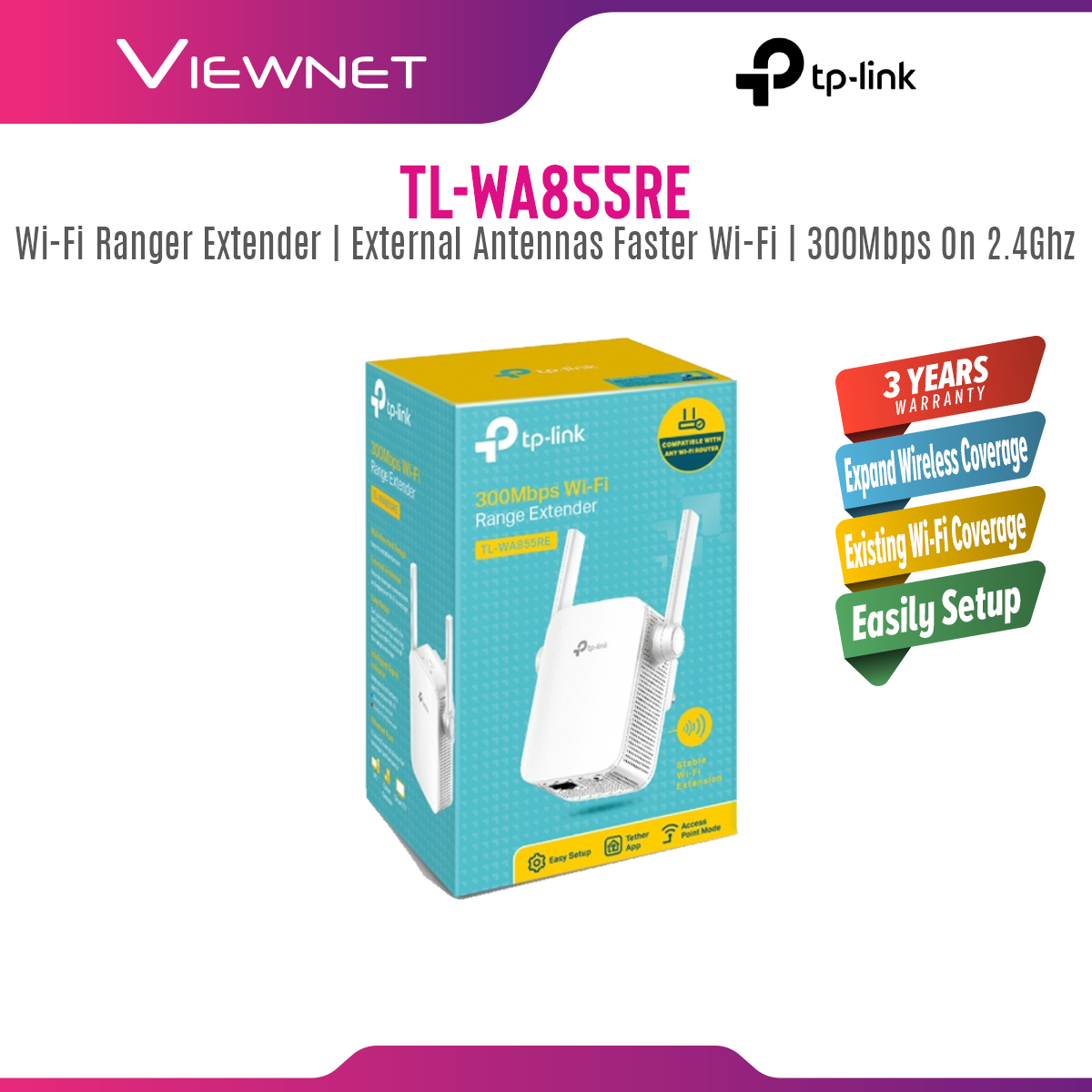 TP-LINK TL-WA855RE New Version 300Mbps Repeater Range Extender With AP