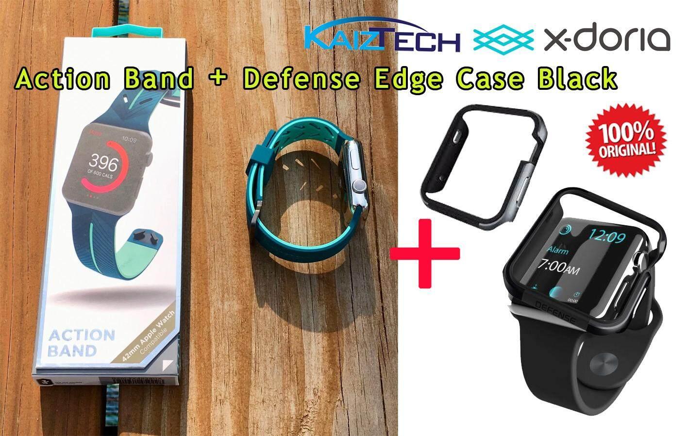 [42mm] Original X-Doria Black Defense Edge Apple Watch Case + Action Band (Black)