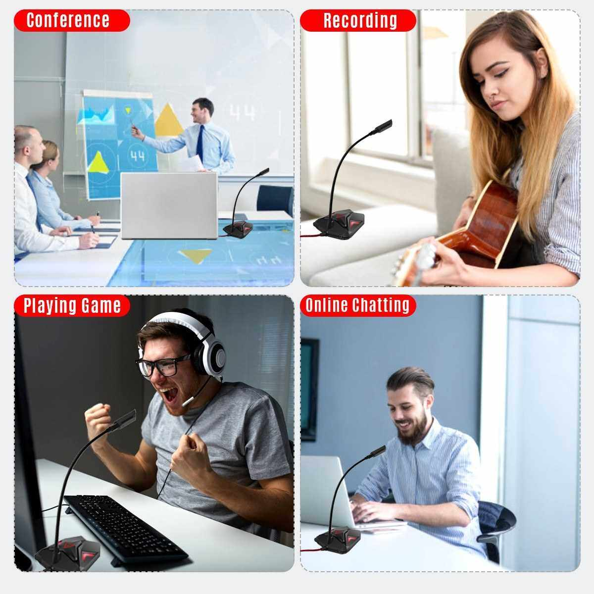 Best Selling USB Computer Microphone Cool Gaming Microphone Omnidirectional Desktop Mic 360 Adjustable Neck with Mute Switch LED Indicator Headphone Audio Port USB Plug & Play for Computer PC Laptop Office Conference Games (Standard)