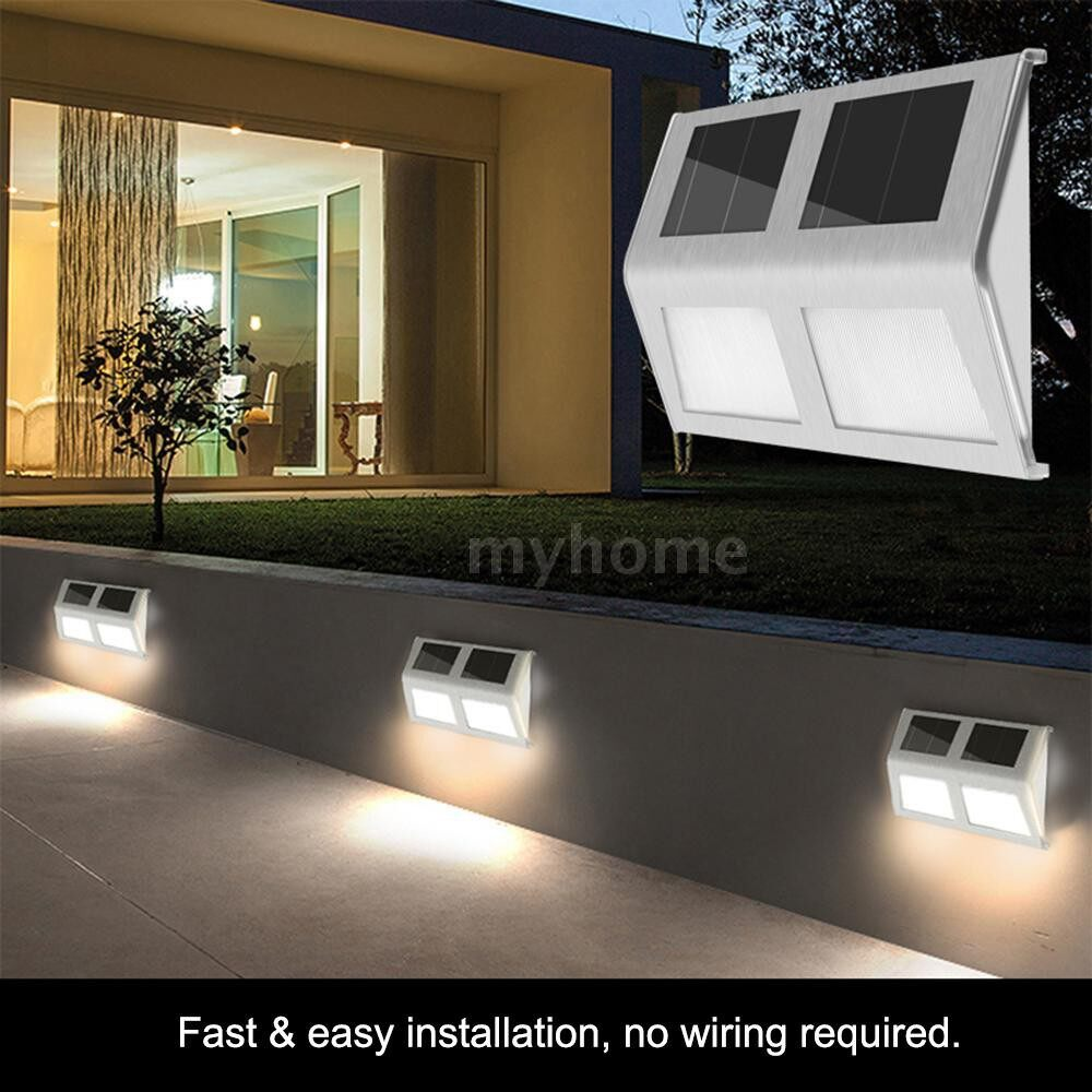 Outdoor Lighting - 6LED Solar Powered Stair Lights Wall Lamp Solar Step Light Water-resistant Outdoor Lighting Walkway - WHITE-6LED / WARM WHITE-6LED / WHITE-4LED / WARM WHITE-4LED / WHITE-2LED / WARM WHITE-2LED