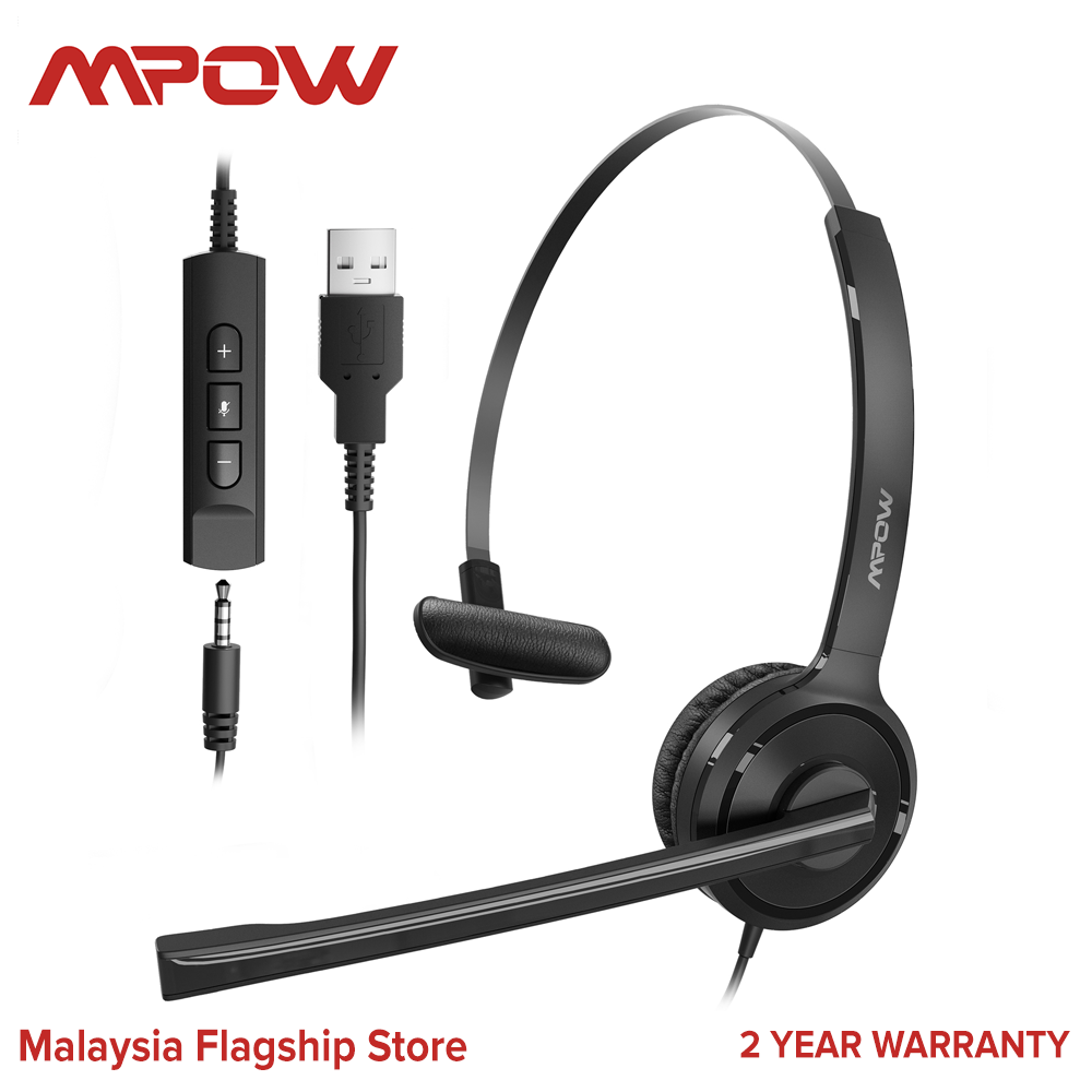 [ NEW ARRIVAL ] Mpow 323 Single-Sided Headset with Microphone, Over-The-Head Business Headphone for PC, 270 Degree Boom Mic for Right/Left Ear, Comfort-fit Call Center Headsets with in-Cord Volume Control