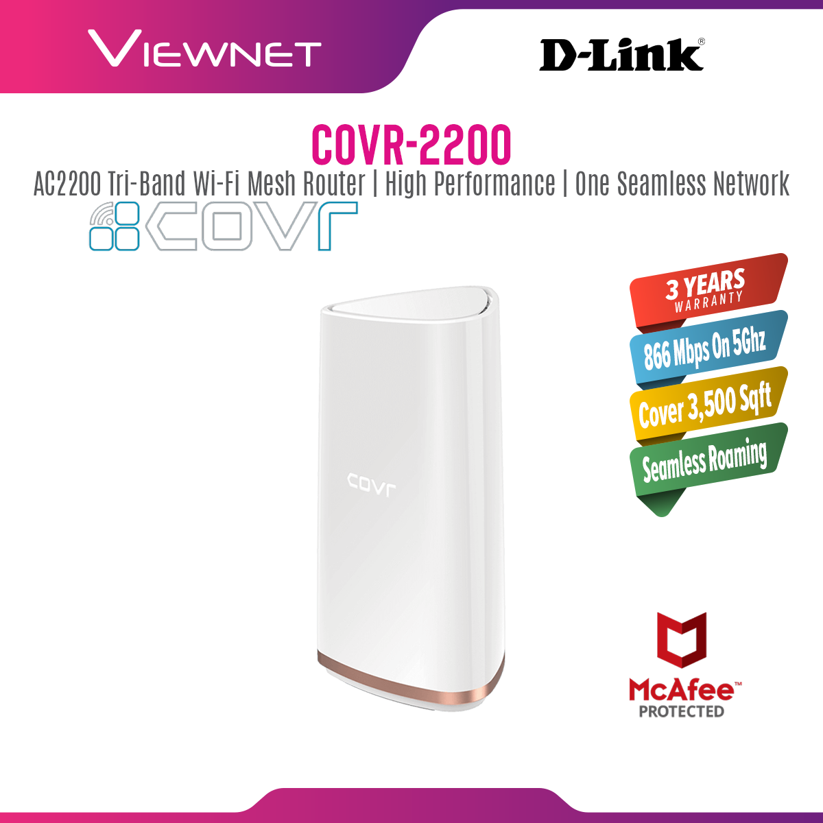 D-Link Tri Band Whole Home Mesh Wi-Fi System Routers, COVR-2200 AC2200, (866 Mbps + 866 Mbps + 400 Mbps)
