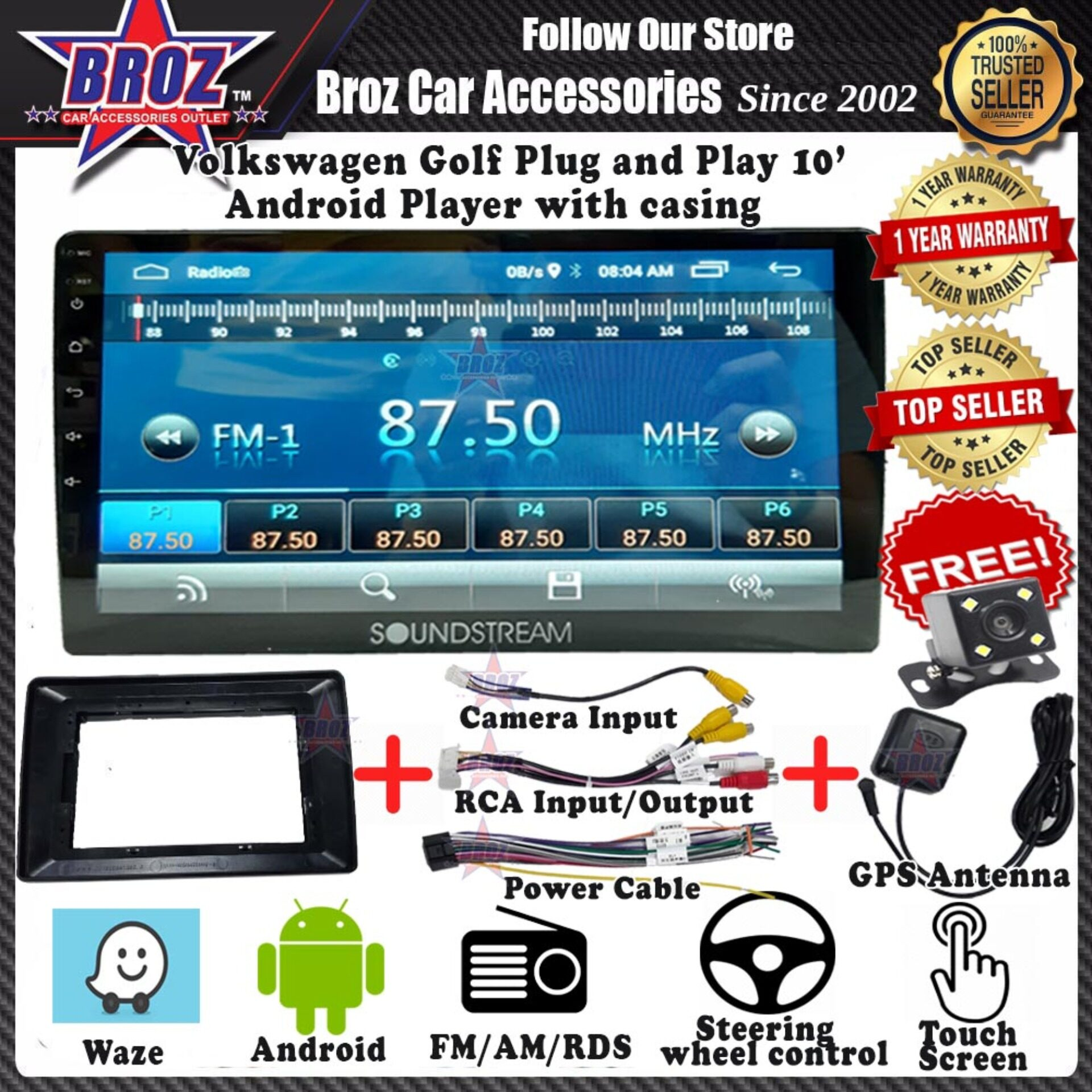 Volkswagen Golf 10  Android Player 1GB + 16G 8.1 Universal Car Multimedia Head Unit Radio built in GPS Bluetooth WIFI USB AUX Touch Screen + Camera