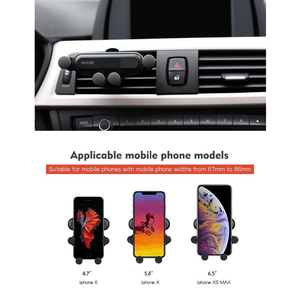 Modeling Universal Car Mobile Phone Gravity Bracket Outlet 360 Degree Rotation - GREY / RED