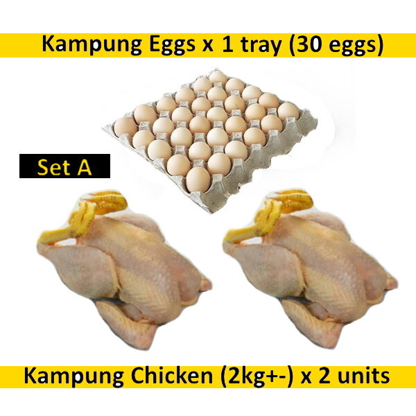 (FREE Delivery Klang Valley*) Fresh Kampung Chicken 2kg+- before slaughter (2 units) & Kampung Eggs 30 eggs (1 tray) - Set A