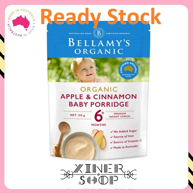 [Ready Stock EXP: 02/2021] Bellamy 's Organic Apple Cinnamon Porridge 6+ ( 125g )(Made in Australia)