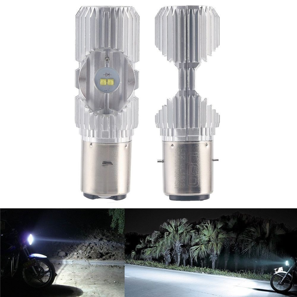 Moto Accessories - 2 PIECE(s) Scooter BA20D 4 LED Hi/Lo 6000K 20W Motorbike Moped ATV Headlight Bulb - Motorcycles, Parts