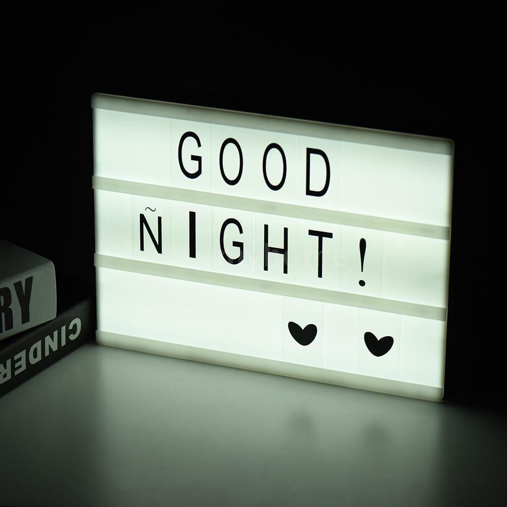 Table Lamps - A4 Size DIY LED CineLight Box Message Board with Interchangeable Letters Free Combination for - 2