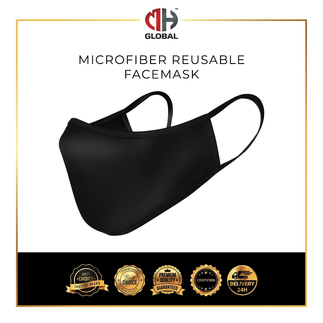 FREE 5 FILTERS Adult Black Face Mask Washable Safety Mask Breathable Comfort, Fully Machine Washable Fast Delivery