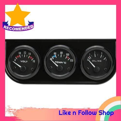 52mm Electronic Triple Gauge Kit Oil Pressure Water Temperature Gauge Voltmeter 3 in 1 Car Motorcycle Meter (Standard)