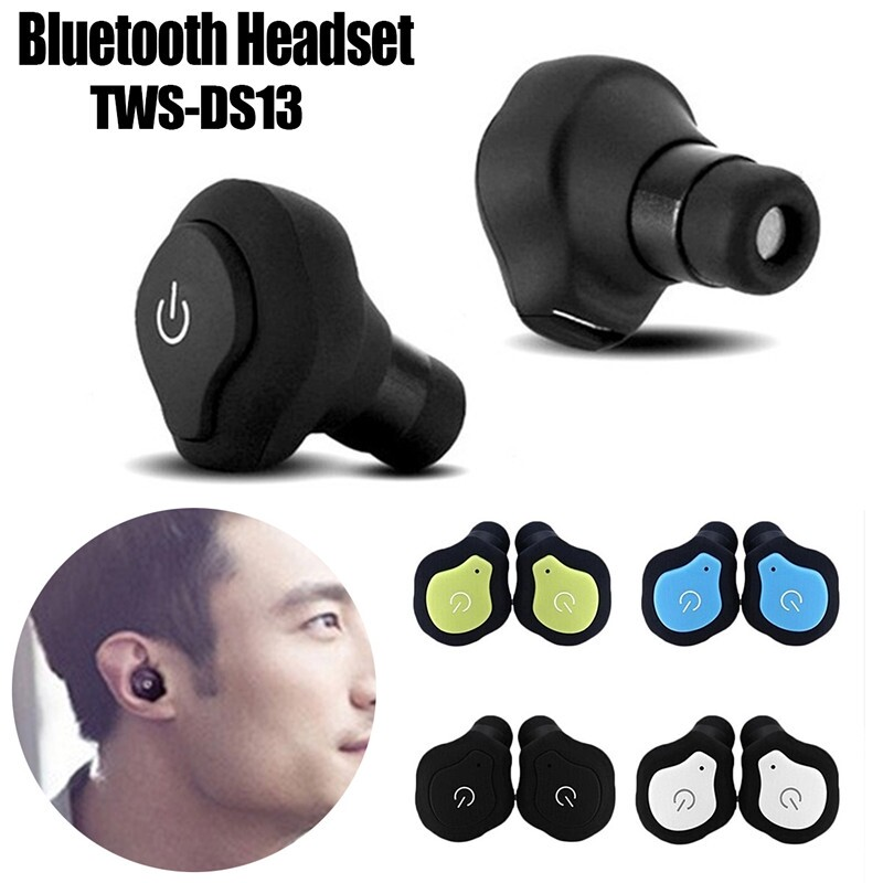 TWS-DS13 MINI BLUETOOTH Earphones 1 Pair True WIRELESS Earbuds Sports Stereo Head SET With Mic - BLUE / BLACK / WHITE / GREEN