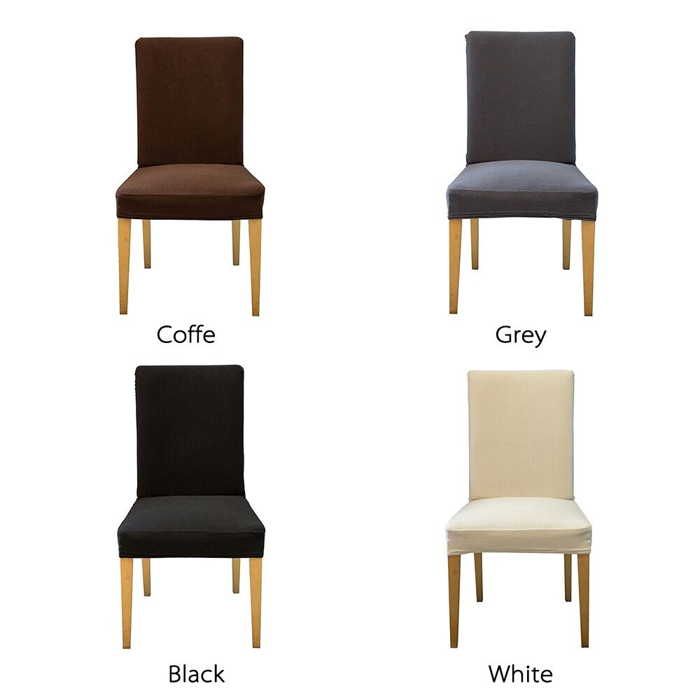 Home Decor - Pack of 4 Spandex Stretch Dining Chair Seat Covers Elastic Removable Washable Ce - COFFEE-PACK OF 4 / GREY-PACK OF 4 / WHITE-PACK OF 4 / BLACK-PACK OF 4 / COFFEE-PACK OF 2 / GREY-PACK OF 2 / WHITE-PACK OF 2 / BLACK-PACK OF 2