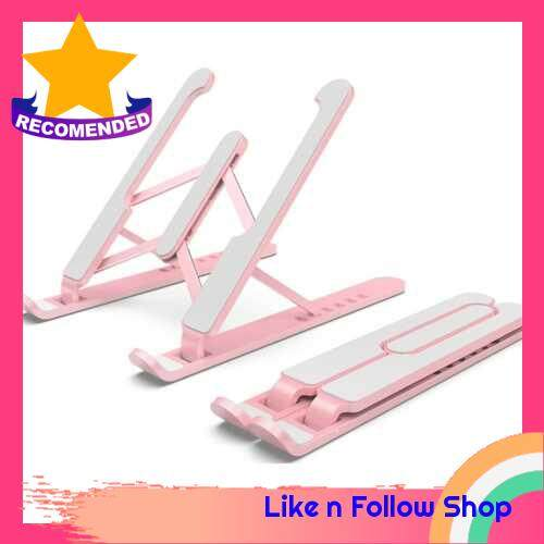 6-levels Height Adjustable Laptop Stand Computer Holder Bracket Portable Foldable Bendable Non-slip Notebook Holder for Home Office Daily Use Student (Pink)