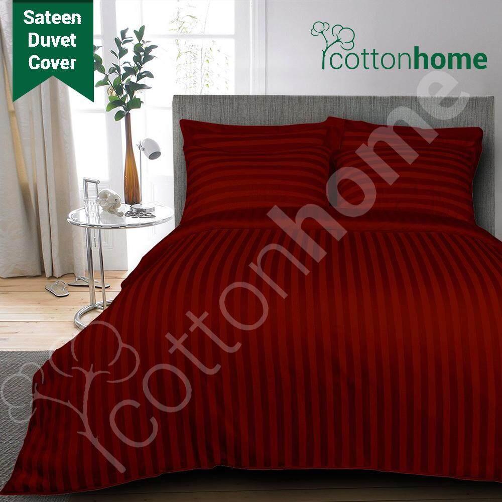 GH: 600 TC: 100% Cotton Sateen Duvet Cover : 1cm Stripe MAROON COLOR