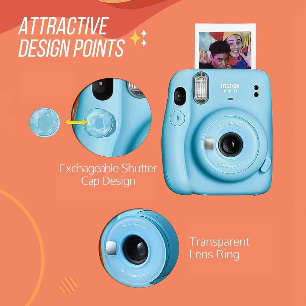 Fujifilm instax mini 11 Instant Camera Film Cam Auto Exposure Control Selfie Mode with Batteries Wrist Strap Birthday Christmas New Year Festival Gift for Boys Girls (Pink)