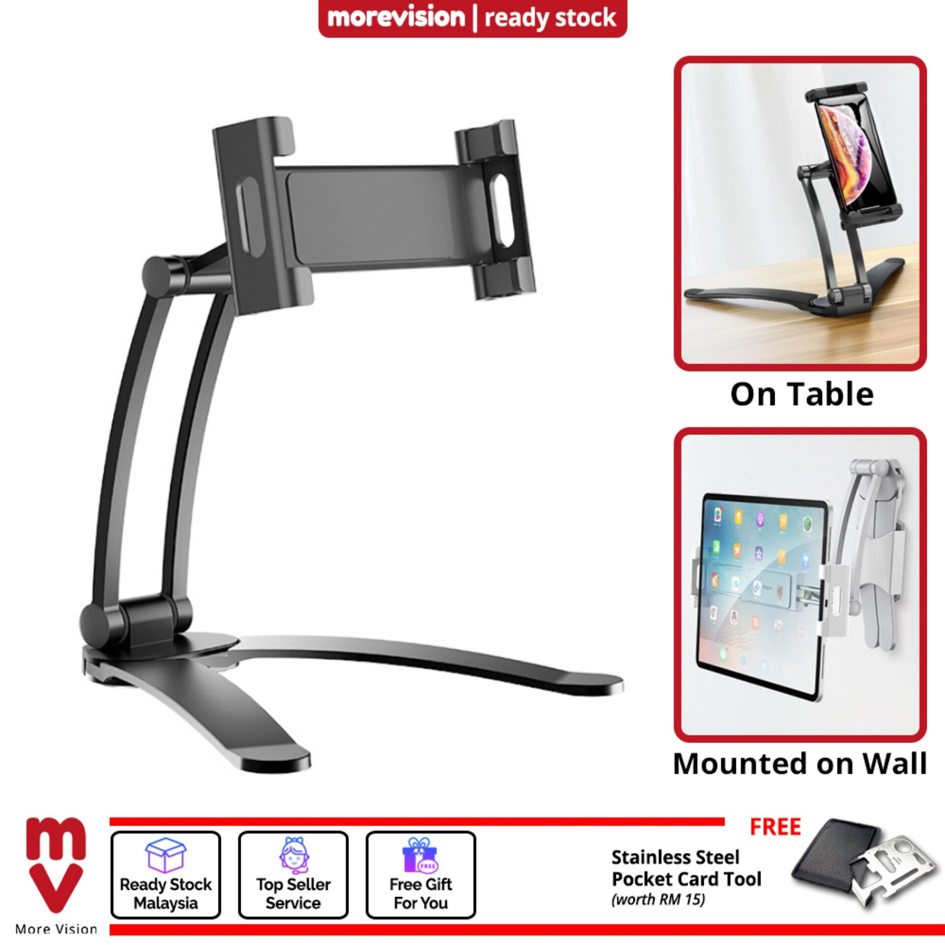 Table Stand Holder for Phone iPad Tablet with Wall Mount Universal Size Mounting Clamp Adjustable Portable Flexible