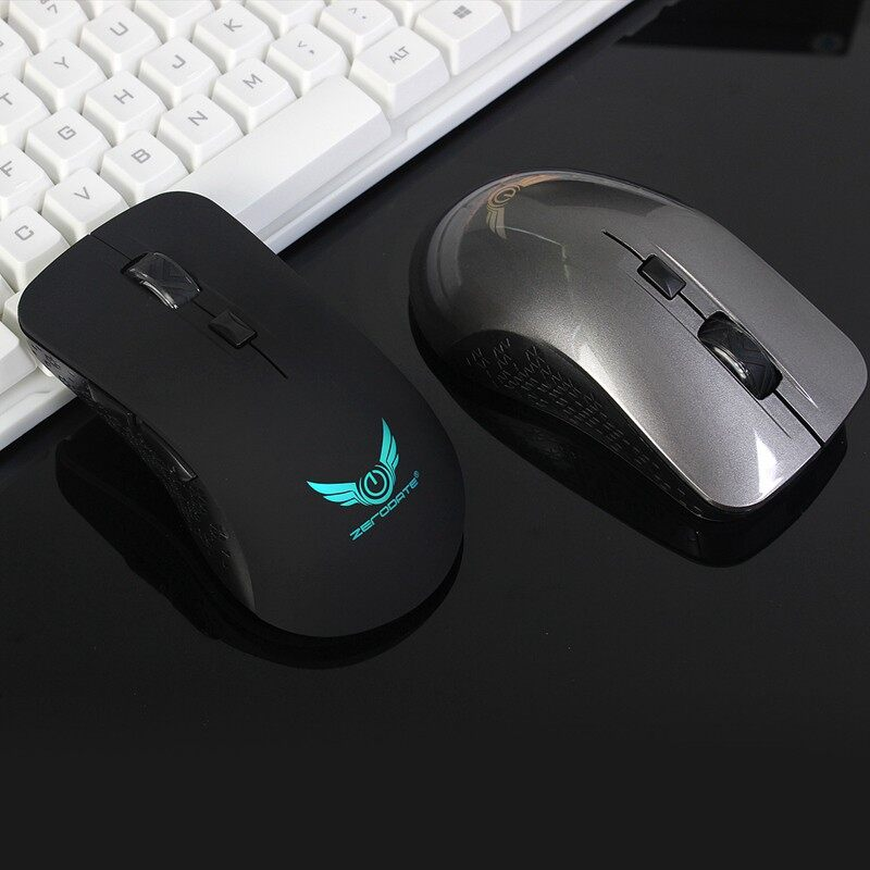 Gaming Computer Mouse - Zerodate WIRELESS Rechargeable Gaming Mouse 6Buttons 7Colors Breathing Light - GREY / BLACK